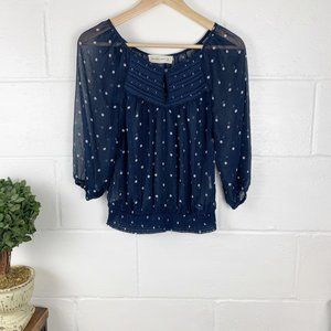 ABERCROMBIE & FITCH Navy Blue Polka Dot Top Size S
